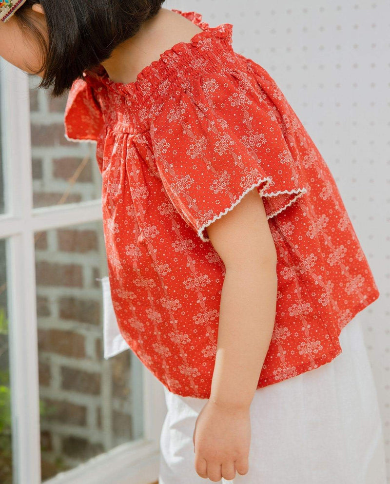 [Out of Stock] Floral Print Off-the-shoulder Blouse
