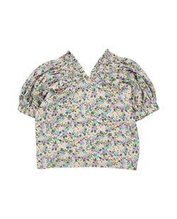 [Out of Stock] V-Neck Floral Print Shirred Blouse