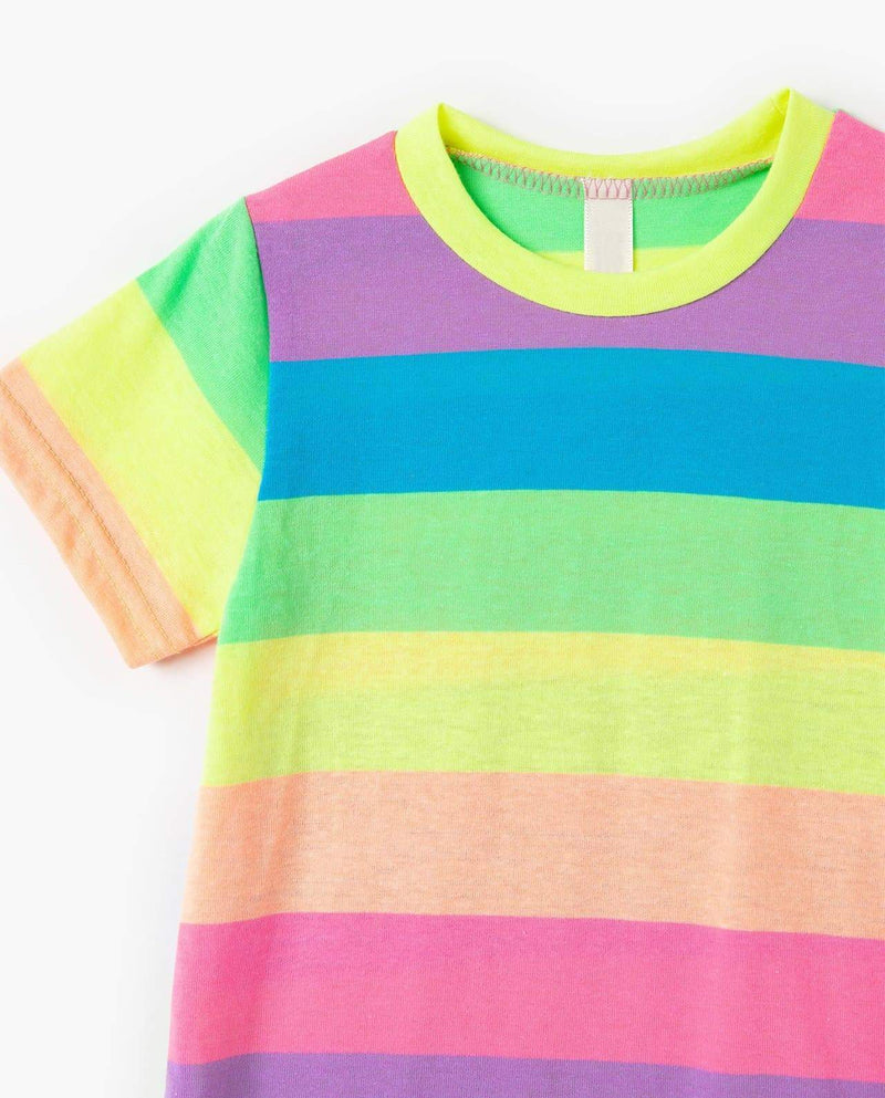 [Out of Stock] Neon Striped Flare Dress