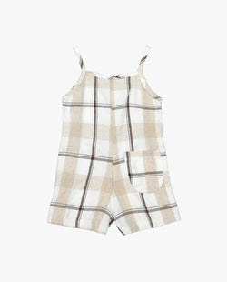 [Out of Stock] Linen Plaid Spaghetti Strap Jumpsuit