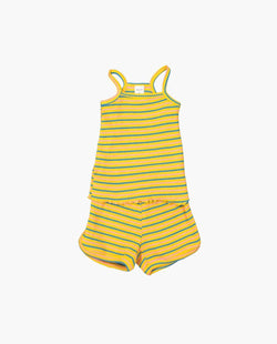[Out of Stock] [SET] Ribbed stripe spaghetti strap two-piece (shorts)