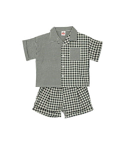 [Out of Stock] [SET]Asymmetrical Plaid Two-piece