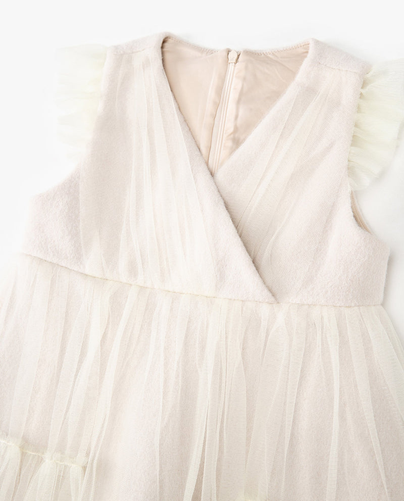 [Out of Stock] Tulle Patched V-Neck Dress