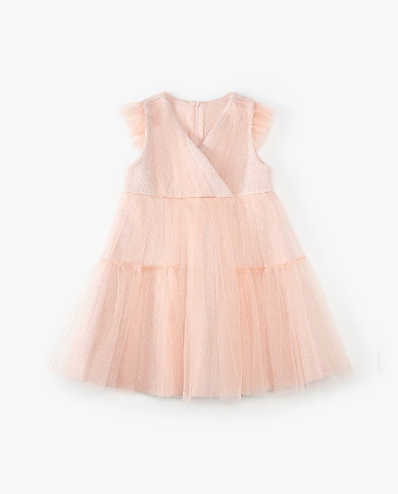 Tulle Patched V-Neck Dress on MooMooz
