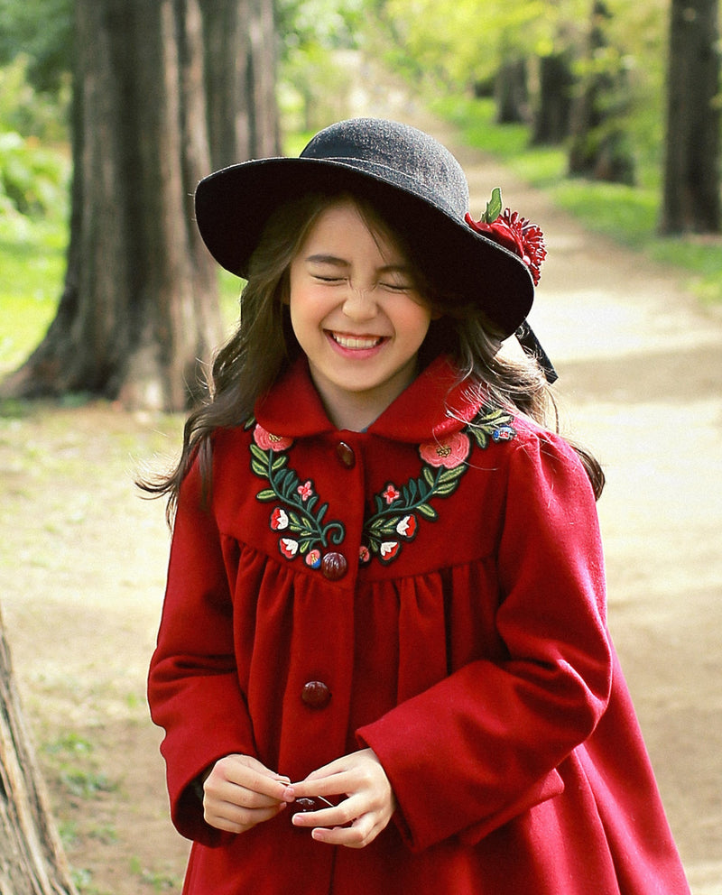 Floral Embroidery Coat on MooMooz