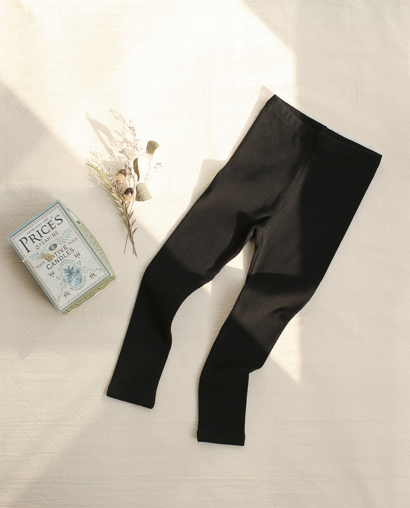 Cotton Spandex Blend Leggings (Black) on MooMooz