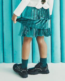 Triple Tiered Velvet Skirt (Green)  on MooMooz