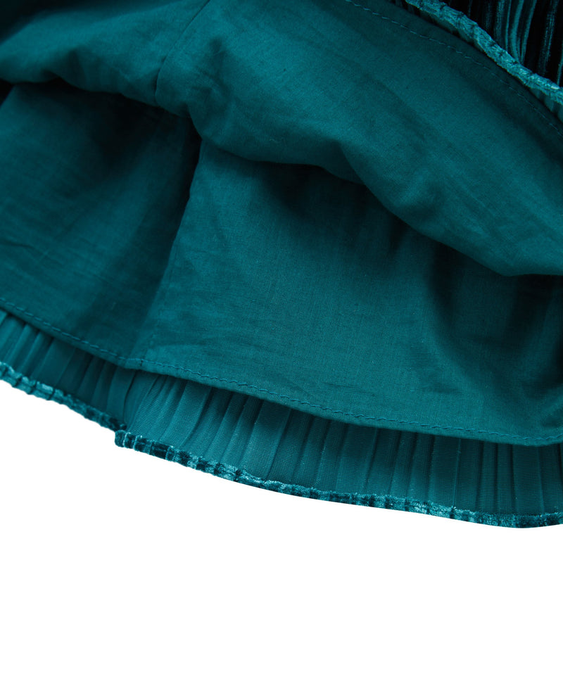 Triple Tiered Velvet Skirt (Green)