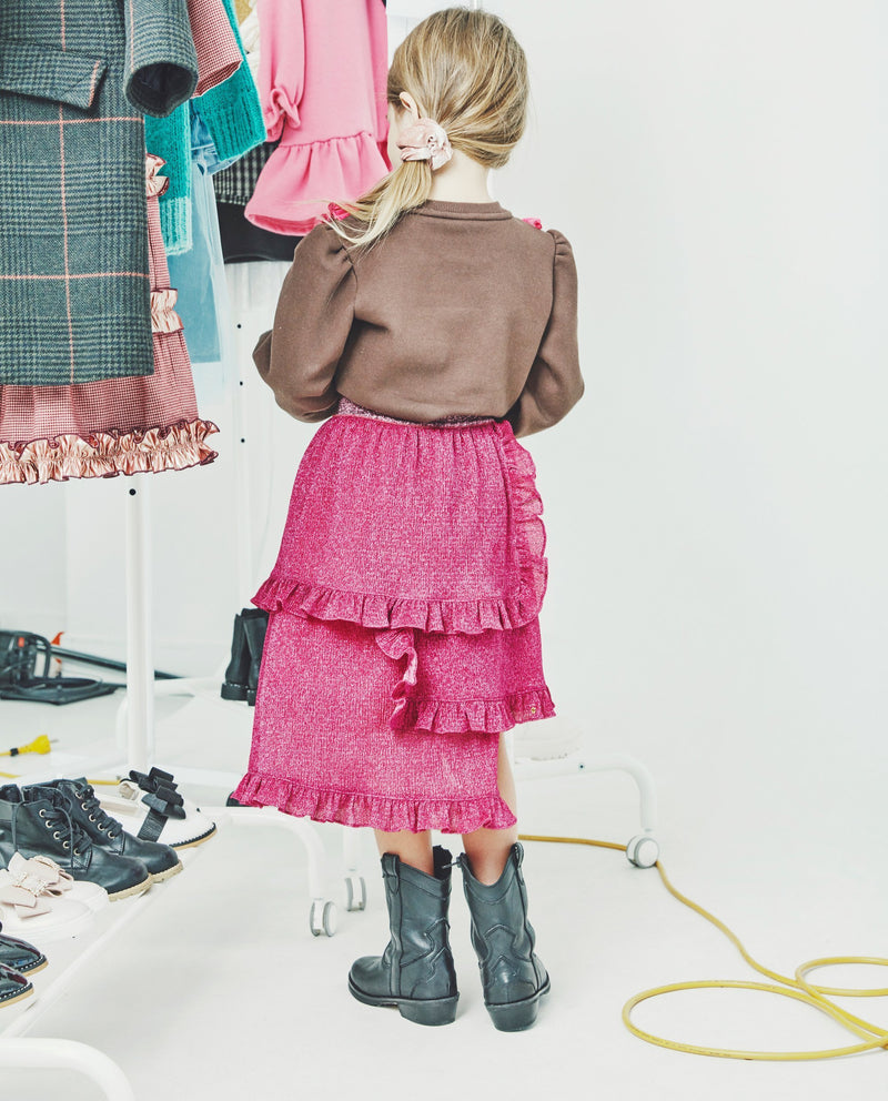 Triple Tiered Ruffle Skirt (Pink) on MooMooz
