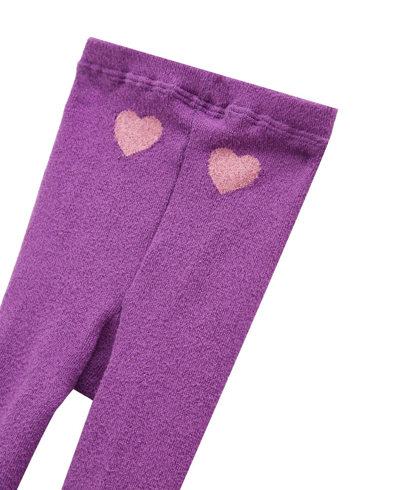 [Out of Stock]Glittery Heart Tights (Purple)