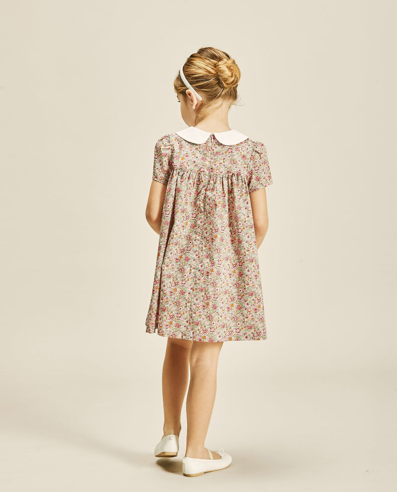 Round Collared Puff Sleeve Dress