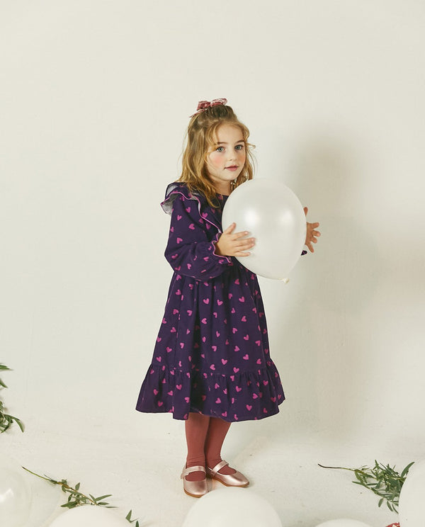 Heart Patterned Corduroy Dress on MooMooz