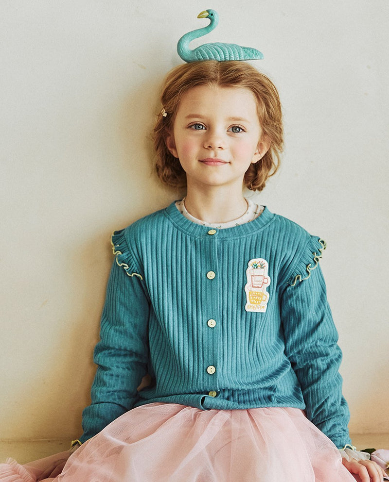 Ribbed Ruffle Shoulder Cardigan on MooMooz