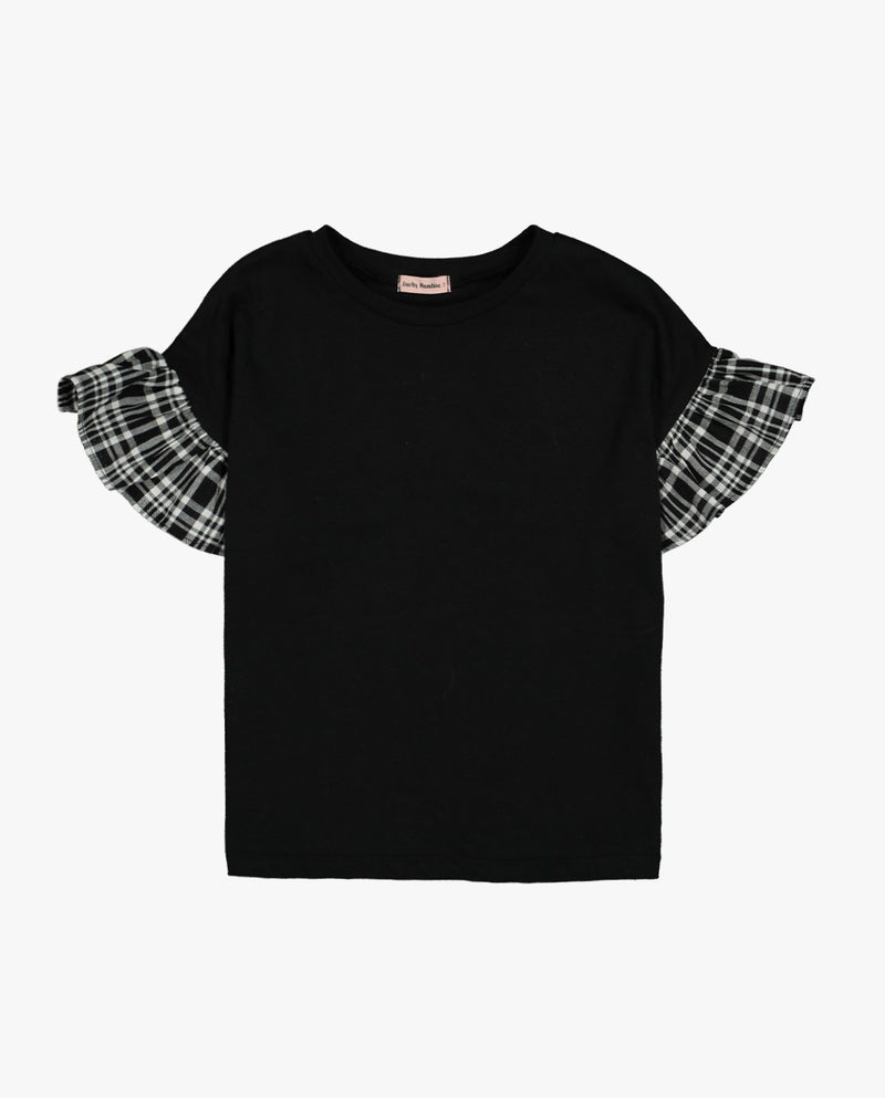 Plaid Ruffle Sleeve T-Shirt