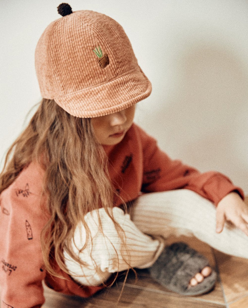 [Out of Stock] Corduroy Pink Pot Cap