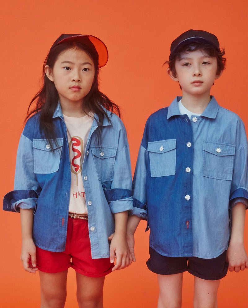 Color Block Carnation Shirt (Kids) on MooMooz