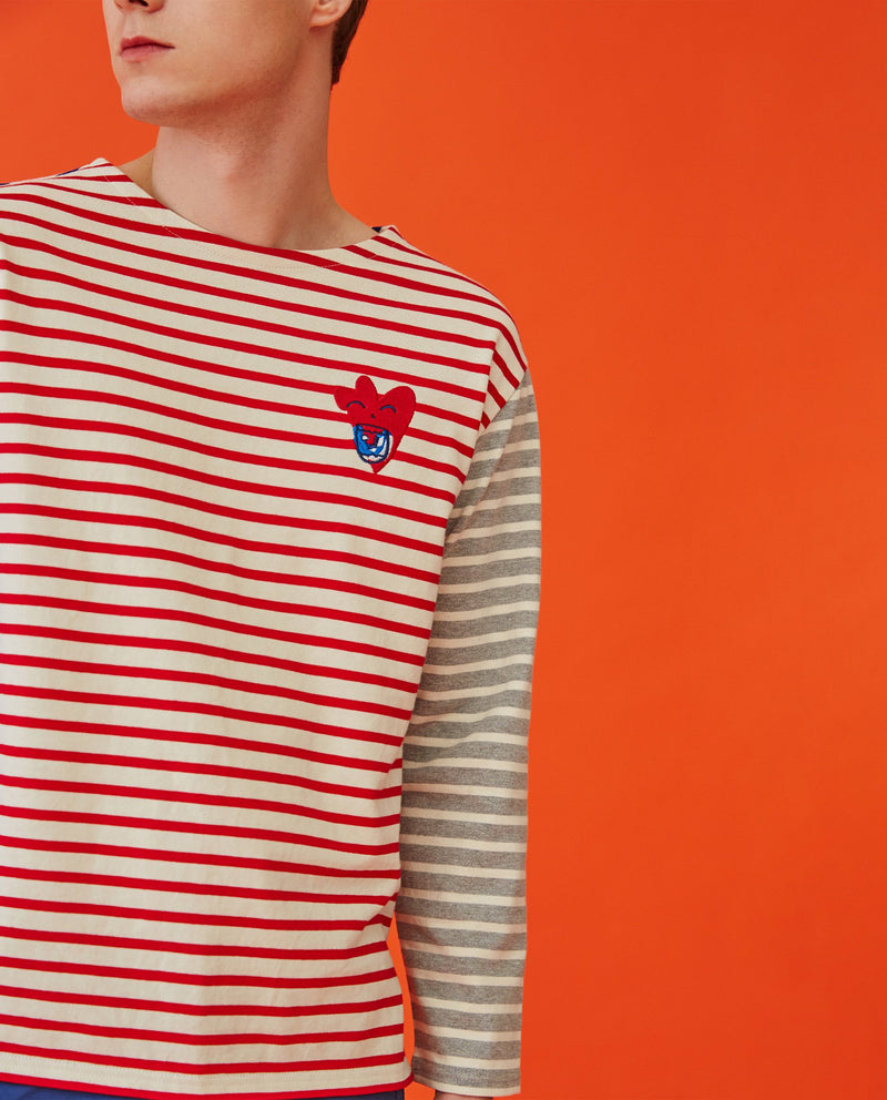 [Out of Stock] Heart Color Block Striped T-Shirt (Adults)