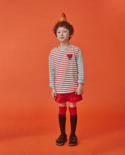 Heart Color Block Striped T-Shirt (Kids) on MooMooz