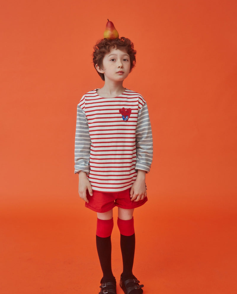 [Out of Stock]Heart Color Block Striped T-Shirt (Kids)