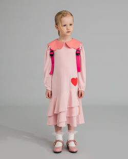 Tiered Ruffle Heart Dress (Pink) on MooMooz