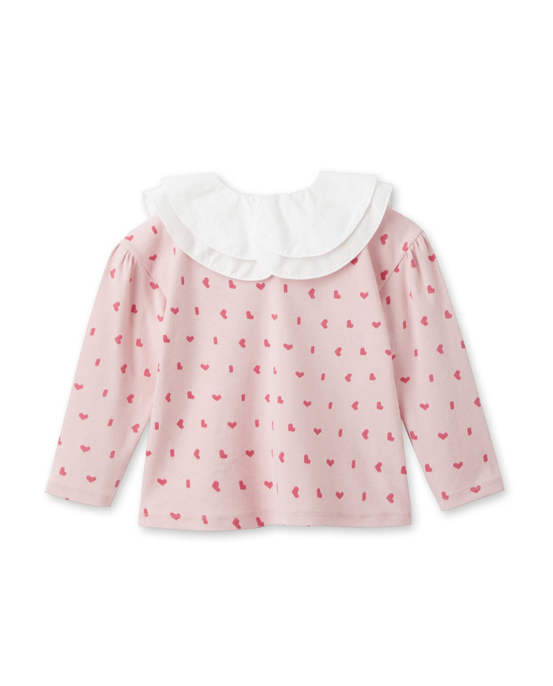 Double Ruffled Collar T-Shirt (Pink)