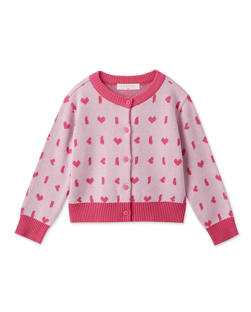 Patterned Color Block Cardigan (Pink)
