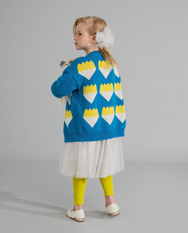 Color Block Graphic Cardigan (Blue) on MooMooz