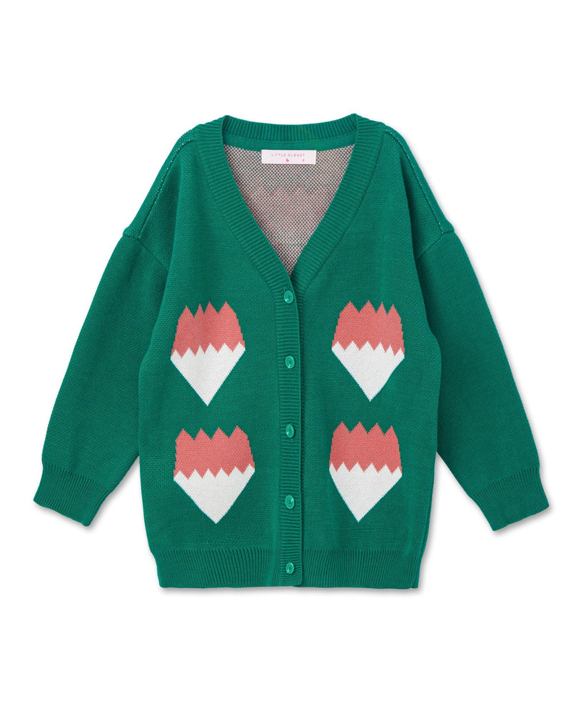 Color Block Graphic Cardigan (Green)