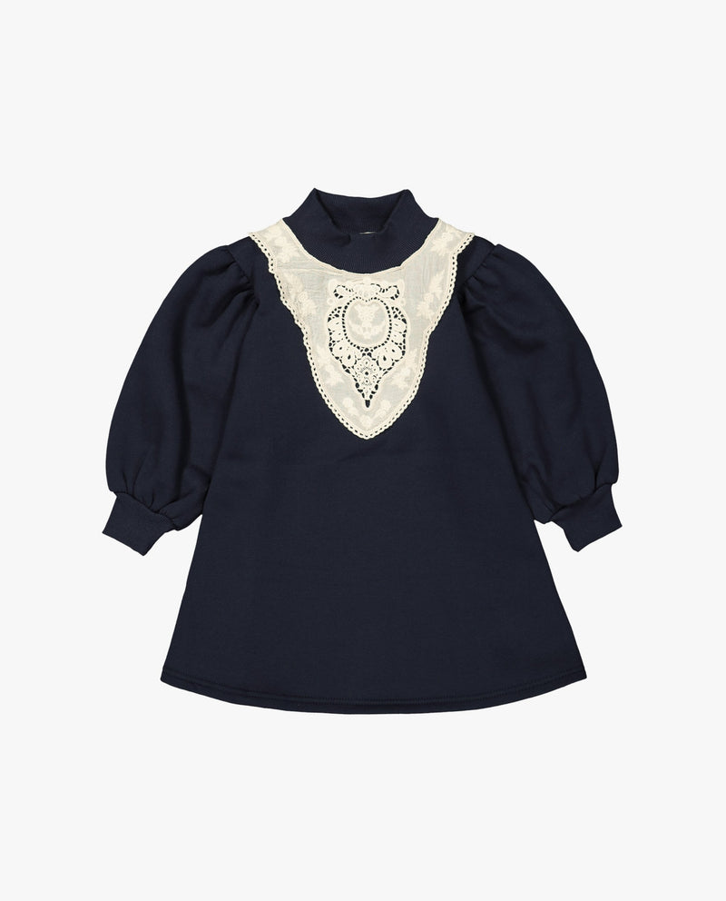 [Out of Stock] Embroidery Patched Mock Neck Dress