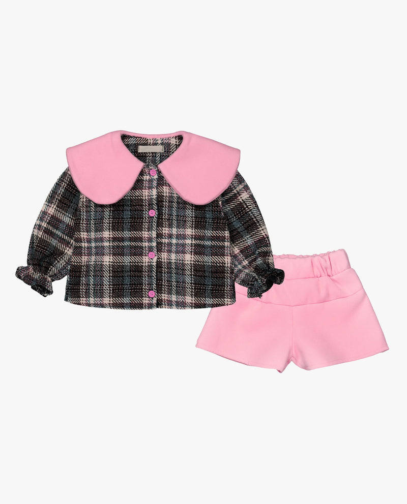[Out of Stock] [SET] Sailor Collared Plaid Top and Pants Set