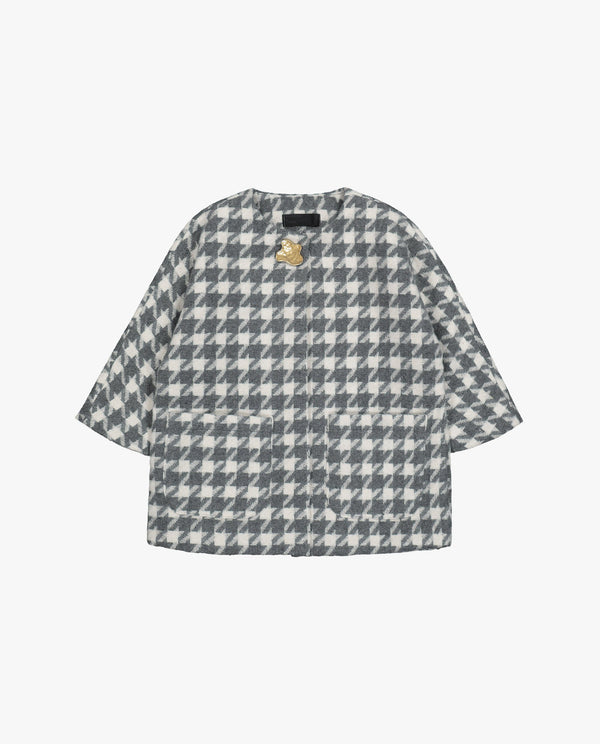 [Out of Stock] Round Neck Houndstooth Patterned Coat
