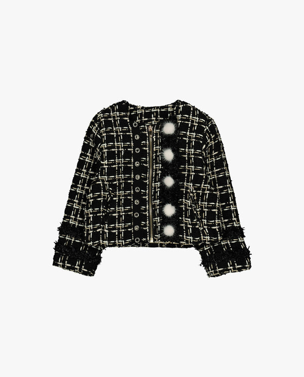 [Out of Stock] Fuzzy Fur Ball Patched Tweed Jacket