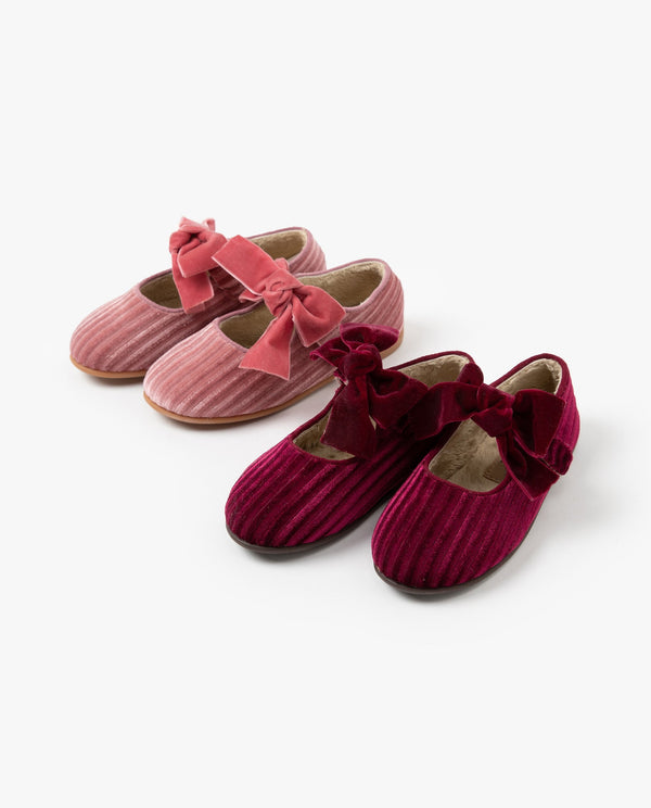 [Out of Stock] Velvet Bow Flats
