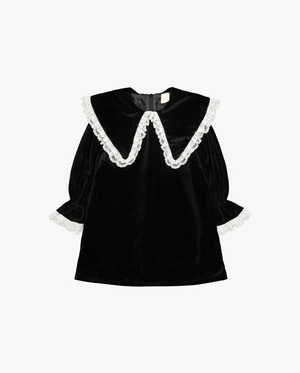 [Out of Stock] Butterfly Collared Velvet Dress