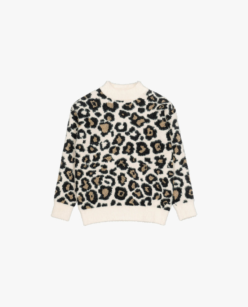[Out of Stock] Leopard Ribbed Neck Sweater