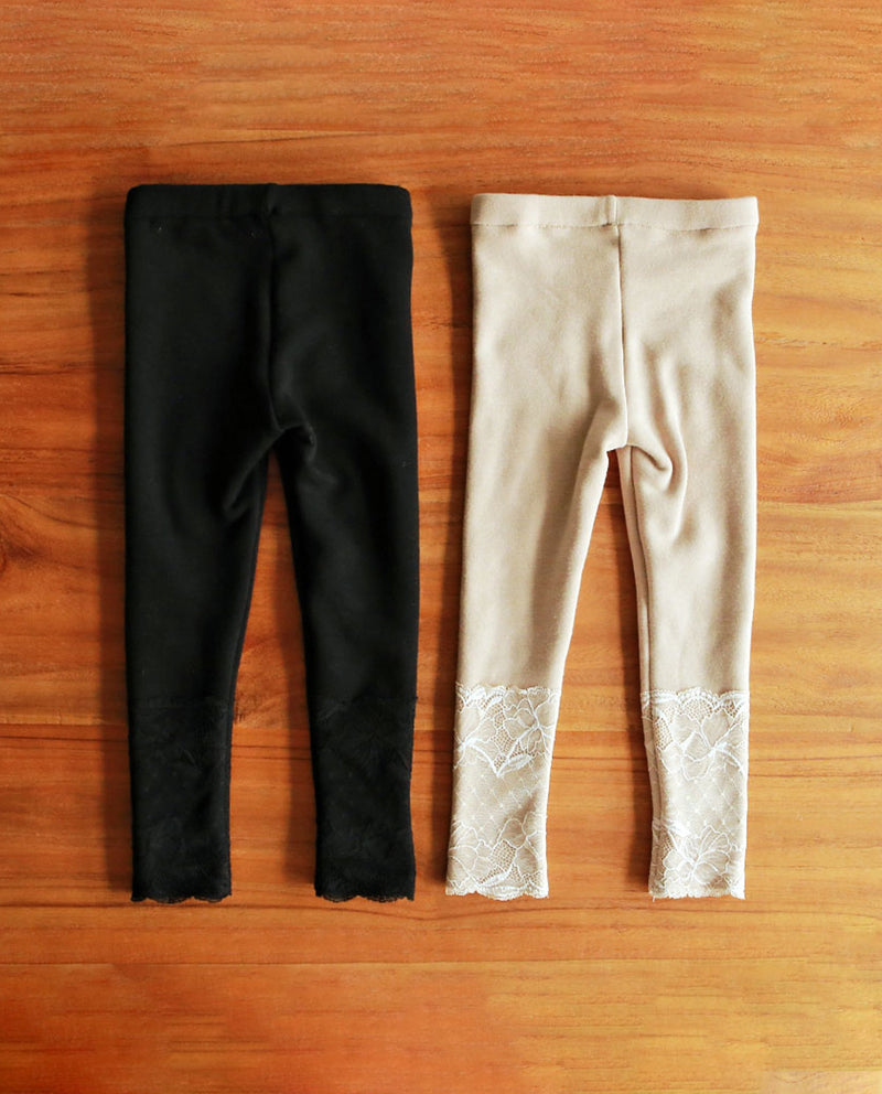 [Out of Stock] Raschel Lace Patched Leggings