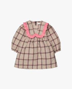 [Out of Stock] Plaid Ruffle Trimmed Collar Dress