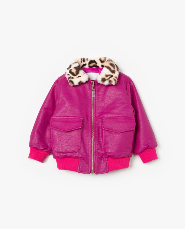[Out of Stock] Leopard Faux Fur Collared Jacket