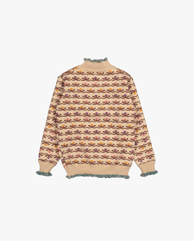 [Out of Stock] Floral Patterned Fleece Lined Sweater