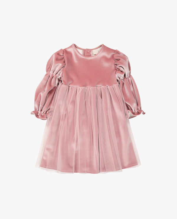 [Out of Stock] Velvet Tulle Overlay Dress