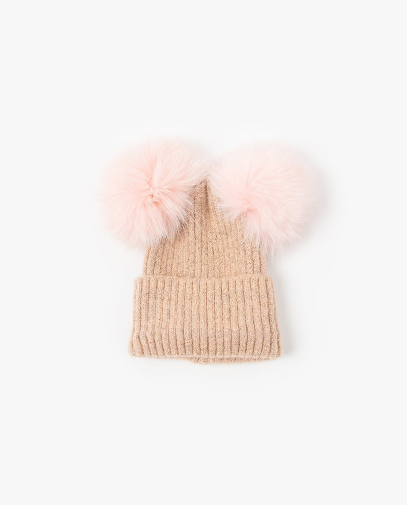 [Out of Stock]Double Fur Ball Beanie