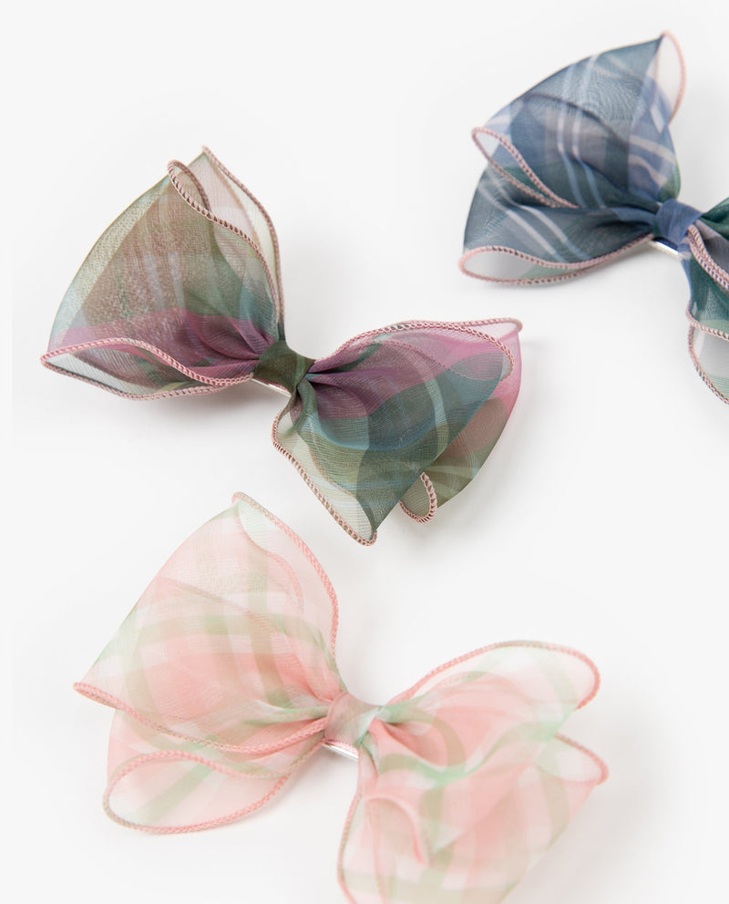 [SET] Sheer Plaid Bow Hair Pins