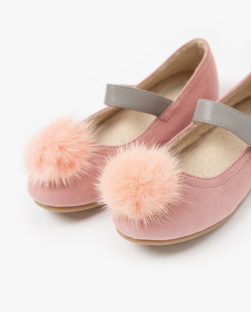 [Out of Stock] Fuzzy Pom Pom Color Block Strap Flats