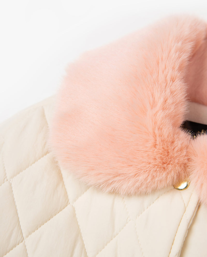 [Out of Stock] Pink Faux Fur Collared Coat