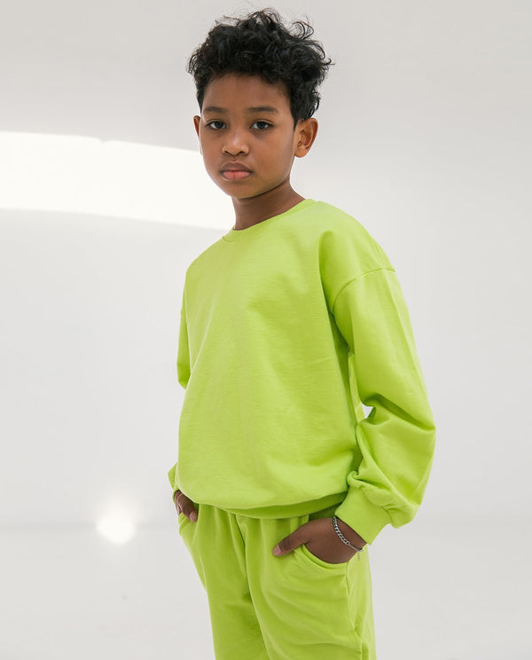 Supima Cotton Crewneck Sweatshirt Lime