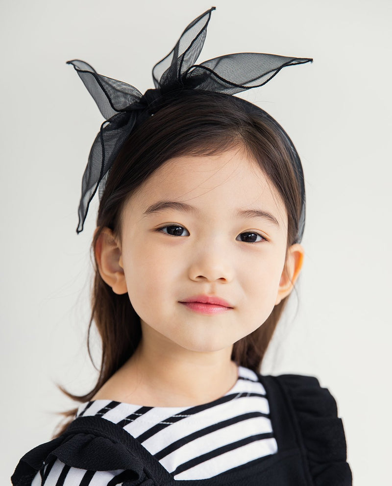 Tulle Big Bow Headband Black