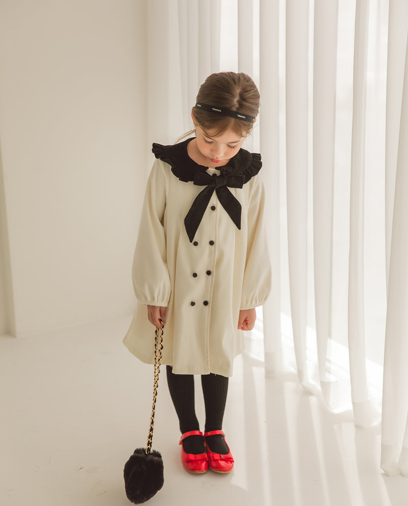 [Out of Stock] Double Button Cape Dress