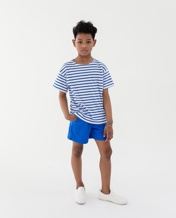 Candy Cane Short Sleeve White&Blue