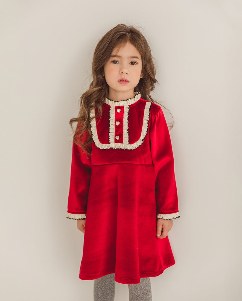 [Out of Stock] Ruffled Bib Collar Velvet Dress
