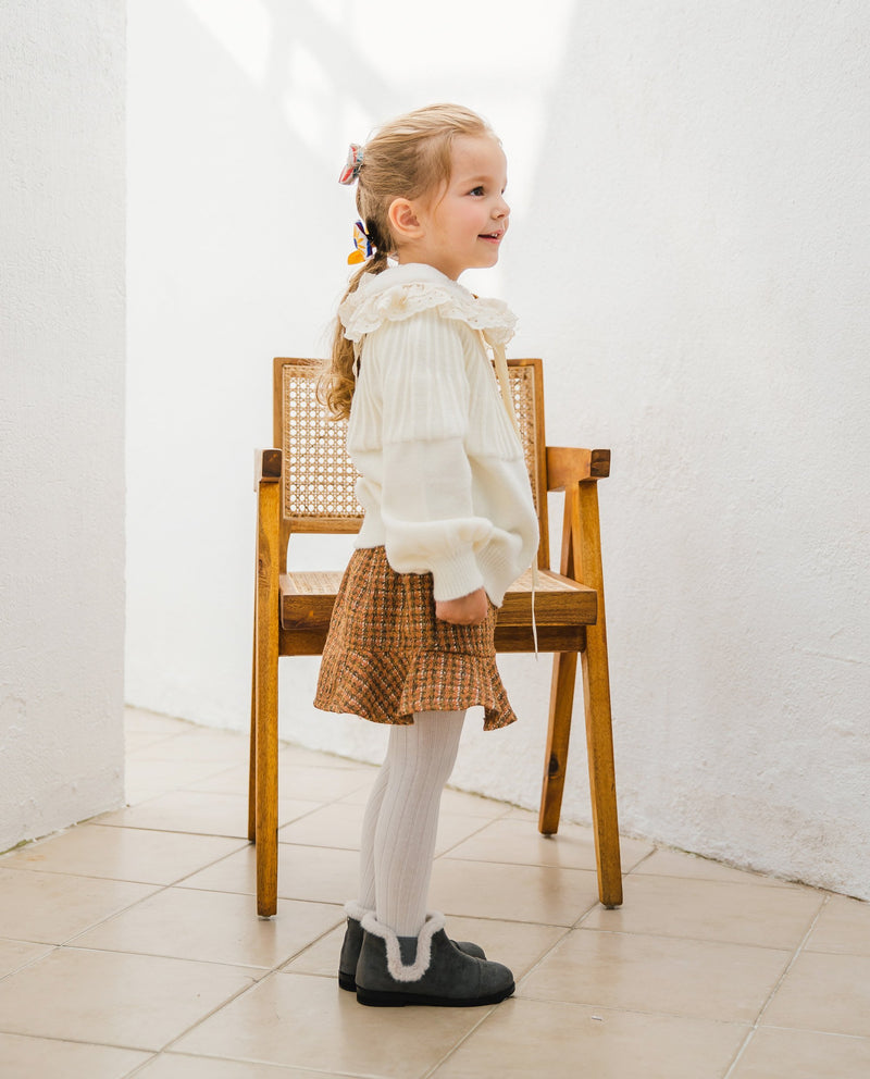 [Out of Stock] Ruffle Patched Tweed Skirt
